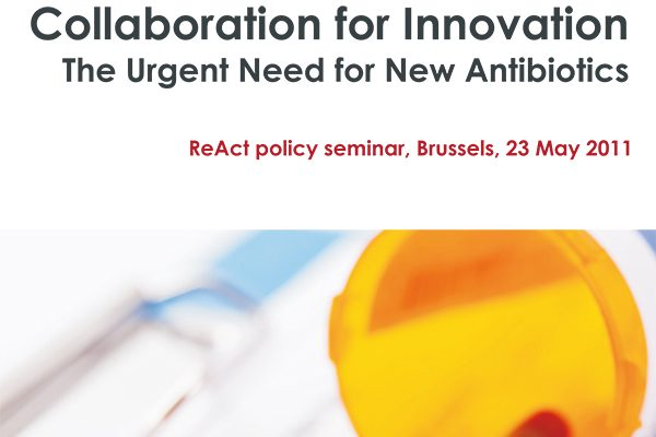 Front page of ReAct material for policy seminar in Brussels with a text and close up of a jar with yellow lid