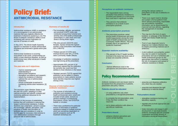 Front page of Ghana's Policy Brief on antimicrobial resistance