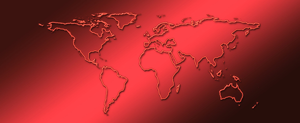 Map of the world in red