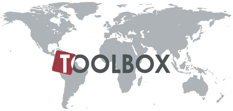 Logo for the ReAct Toolbox with grey world map