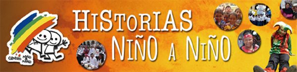 Yellow background with white text saying historias nino a nino, and small round pictures of people, and two stick figures behind colorful lines