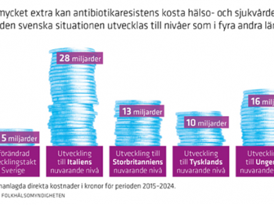 Blue coins in five staples with different numbers on them and purple text boxes with text in Swedish