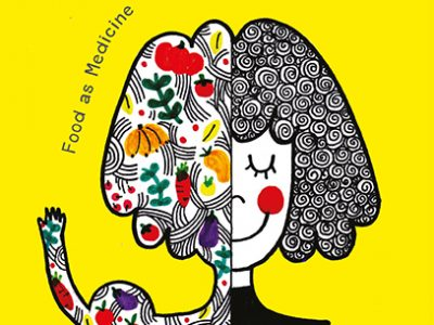 Cover for food as medicine. Illustration of graphic girl on yellow background.
