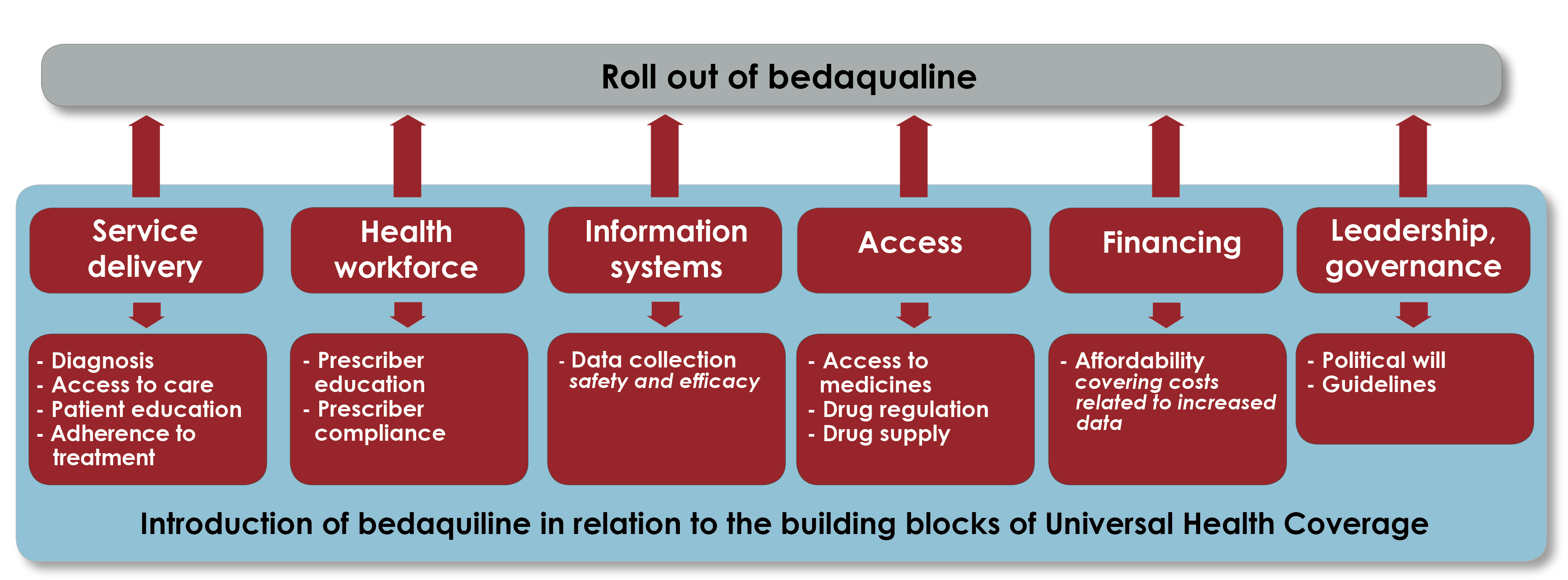 Infography showing connections between sustainable use of antibiotics and health system components
