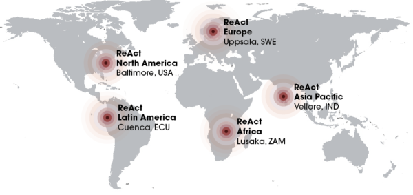 World map with ReAct's offices marked
