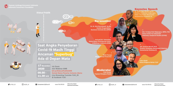 A poster announcing YLKI's online public discussion on antimicrobial resistance.
