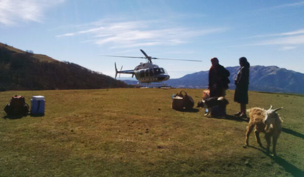 When the main means of transportation are mules, heavier medical supply needs to be flown in with a helicopter.